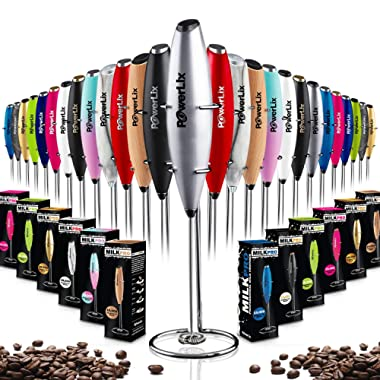 PowerLix Milk Frother Handheld Battery Operated Electric Foam Maker For Coffee, Latte, Cappuccino, Hot Chocolate, Durable Drink Mixer With Stainless Steel Whisk, Stainless Steel Stand Include (Silver)