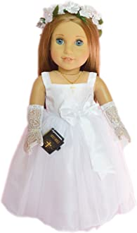 My Brittanys Designs MBD Ivory Lace Dress with Denim Jacket Compatible with American Girl Dolls