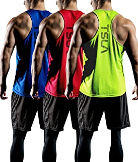 TSLA Men's (Pack of 1, 3) Sleeveless Running Tank Top, Performance Athletic Muscle Shirts, Dry Fit Workout Gym Tank Tops