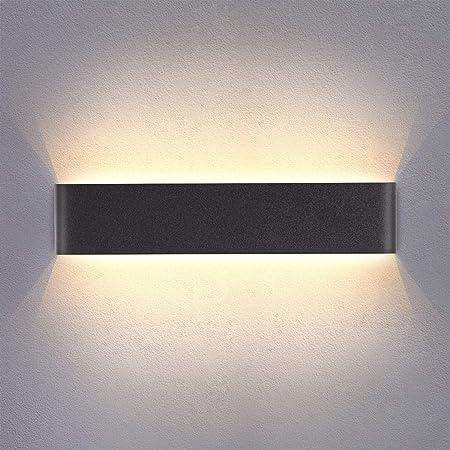Yafido Applique Murale Interieur LED Noir 40CM Lampe Murale Blanc Chaud 14W 3000K Moderne pour Chambre Salon Escalier Couloir Salle de Bain