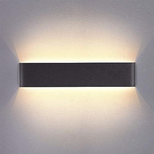 Yafido Applique Murale Interieur LED Noir 40CM Lampe Murale Blanc Chaud 14W 3000K Moderne pour Chambre Salon Escalier...
