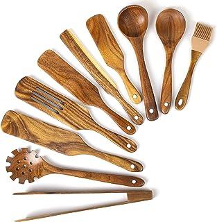وسایل آشپزی چوبی ، مجموعه آشپزخانه Spurtle چوبی اقاقیا ، وسایل آشپزخانه Spurtles دستگاه های اسپاتل شکاف دار شکاف دار برای سرویس دهی مخلوط (10)