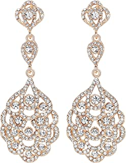 Wedding Crystal Rhinestone Beaded Dangle Earrings for Brides