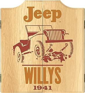 Trademark Global Dart Board Cabinet Set- Jeep Willys Red Dartboard Game Includes 6 Steel Tip Darts, Scoreboard & Hanging Wood Cupboard