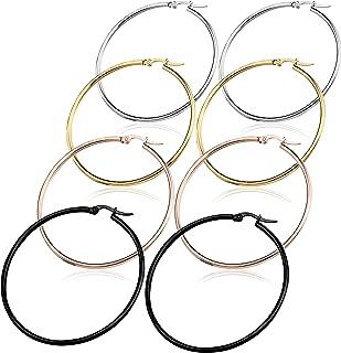 Hoop Earrings Ss 6Mmx20Mm Hoop//Laser /& Shiny
