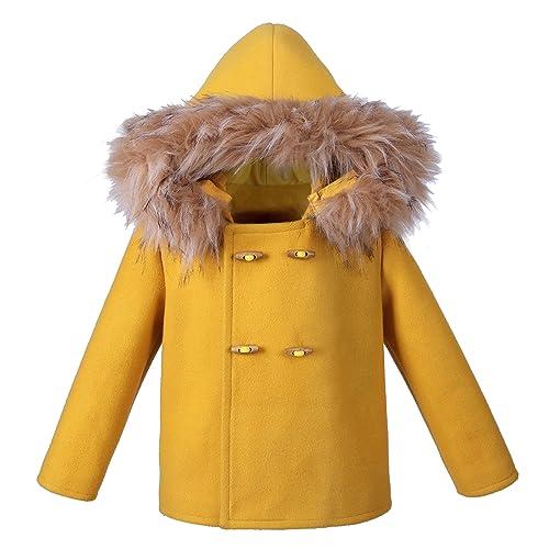 17fdf6412d2 Lajinirr Winter Girl Coats with Hair Hoot Overcoats Children Fashion  Outerwear Blue Jacket
