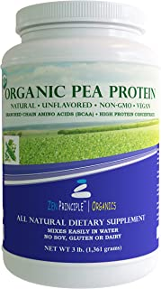 3 lb. Ultra Premium Organic Pea Protein Powder. USDA Certified ONLY from USA and Canada Grown Peas. No GMO, Soy or Gluten. Vegan. Full Spectrum Amino Acids (BCAA). More Protein than Whey. 80% Protein.