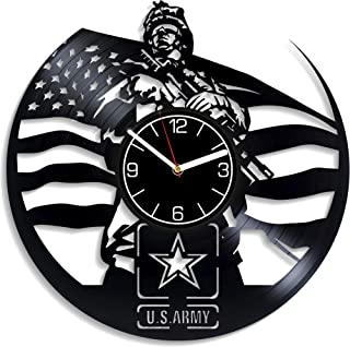 Kovides U.S. Army Vinyl Record Wall Clock USA Army Wall Art Wall Clock Large U.S. Arm Vinyl Clock Army Clock U.S. Army Wall Clock Modern U.S. Army Gift U.S. Army Home Decoration Gift for Men