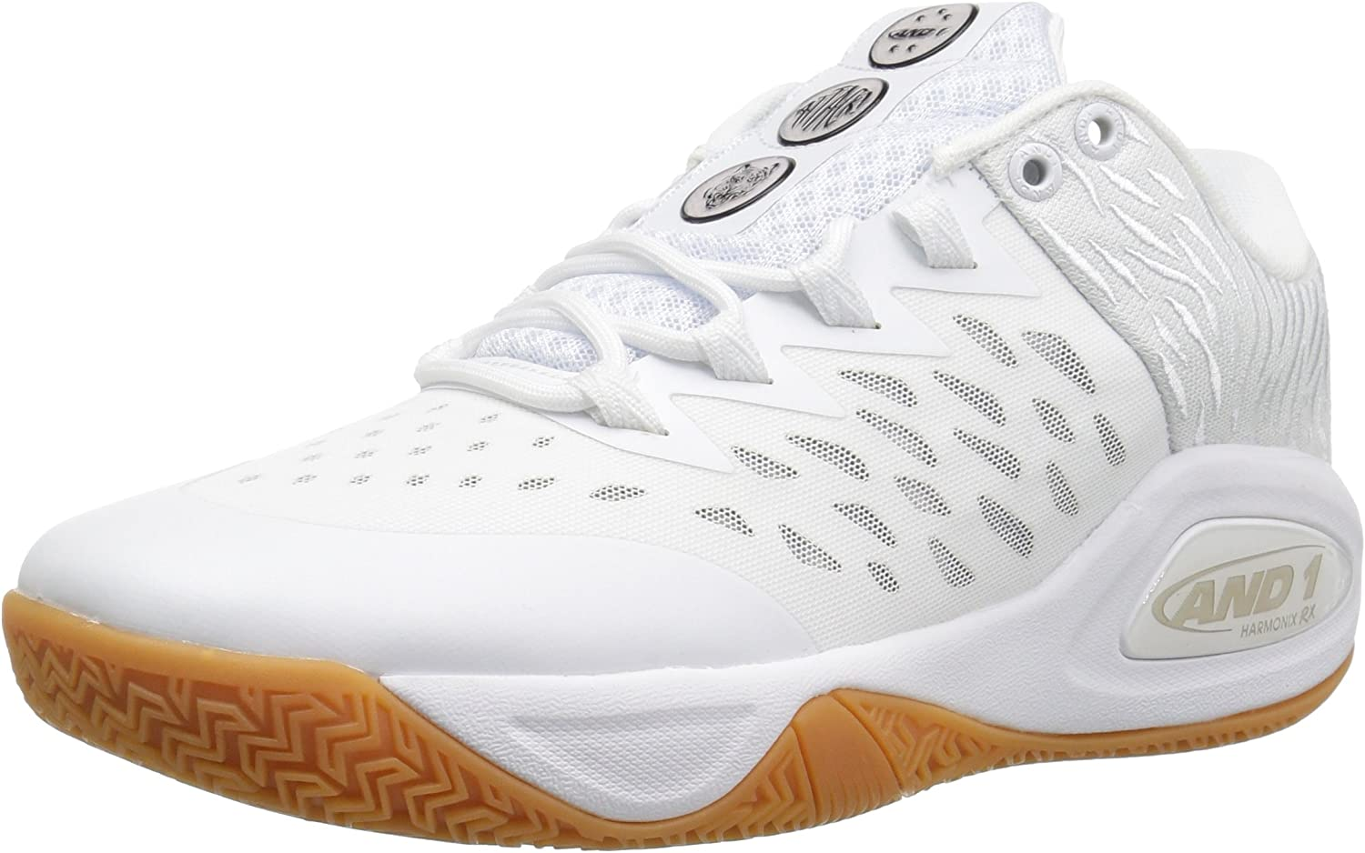 AND1 Men's Attack Low Basketball shoes, White Super Foil Gum, 7.5 UK