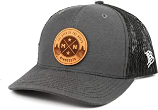 Branded Bills Minnesota 'The North Star' Leather Patch Hat Curved Trucker- OSFA/Charcoal