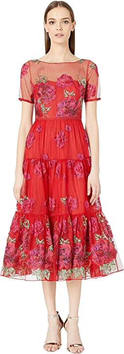 Short Sleeve Floral Embroidered Tea-Length Gown with Trim