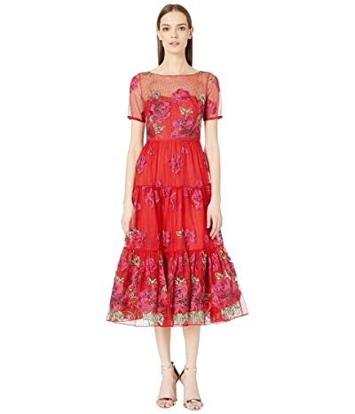 Marchesa Notte Short Sleeve Floral Embroidered Tea-Length Gown with Trim (Red) Women