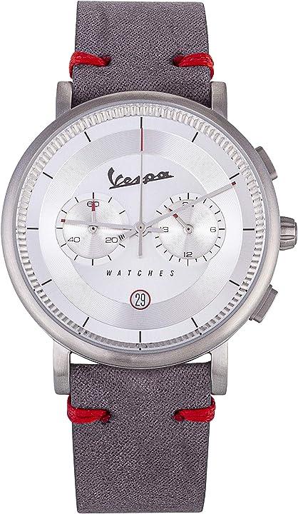 Orologio vespa al quarzo con movimento analogico e cinturino di colore alcantara grigio 100% made in italy VA03CLS-SS01SL
