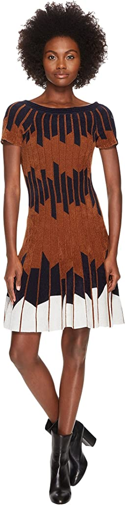Geometric Pleated Chennile Dress