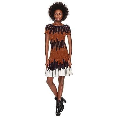 YIGAL AZROUEL Geometric Pleated Chennile Dress (Hazelnut Multi) Women
