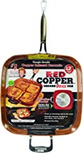 Red Copper Cookware 12-Inch Square Frying Pan by BulbHead, Non-Stick and Scratch-Resistant