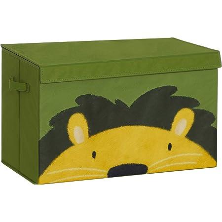 SONGMICS Boîte à Jouets, Coffre de Rangement pour Enfants, Organisateur Pliable avec poignées et Couvercle, 60 x 35 x 38 cm, pour Salon, Vert et Jaune RFB741C01