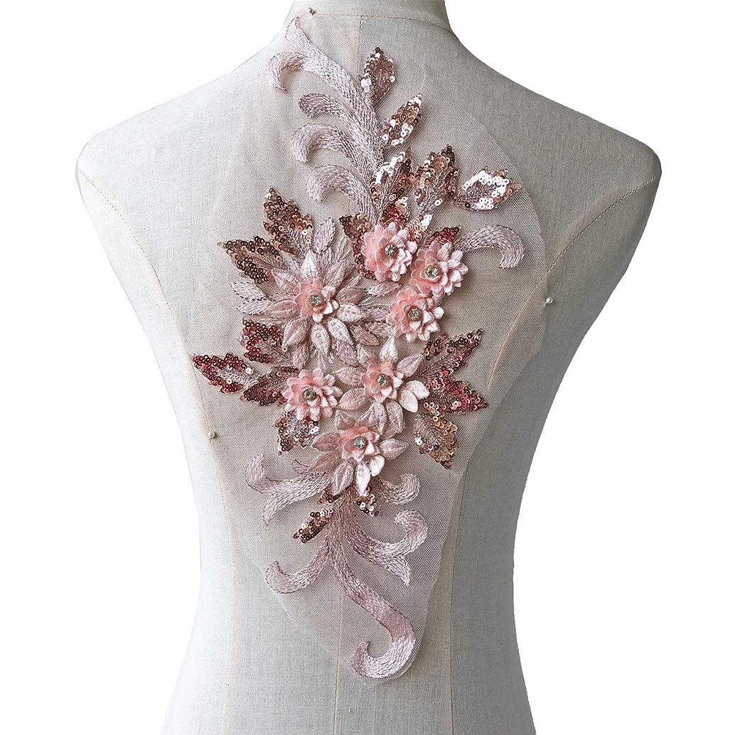 Exquisite 3D Flower Applique,Beaded,Sequined,Pale Pink Floral Patch Lace Appliques Motif Sew onto Dance Costumes Evening Dresses