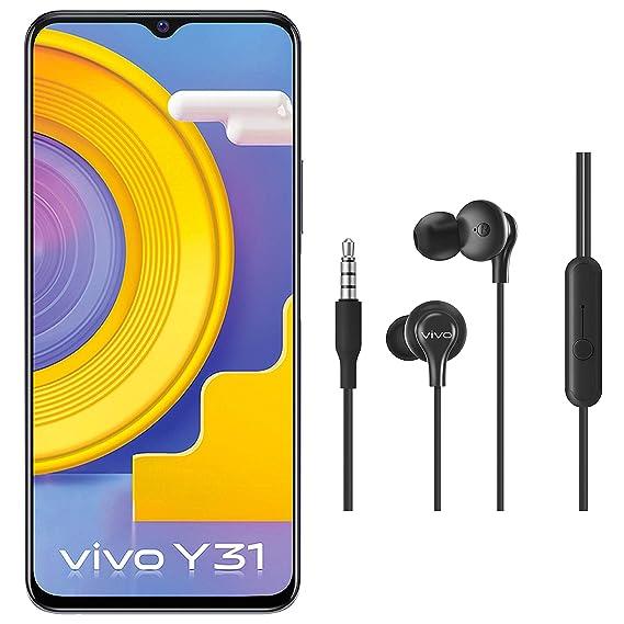 Vivo Y31 (Racing Black, 6GB RAM, 128GB RAB) + vivo Color Wired Earphones with Mic and 3.5mm Jack (Black)