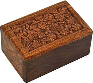 Indian Glance Wooden Urn Box - Human Funeral Cremation Urn with Hand Carved Design