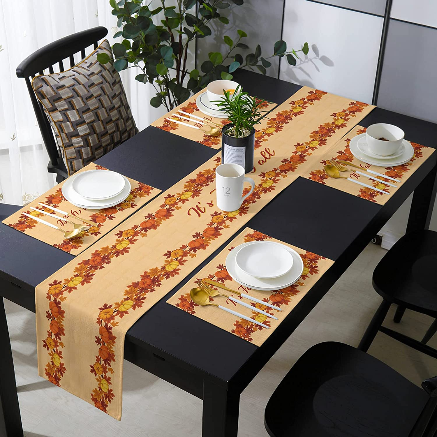 Bargain sale Savannan ! Super beauty product restock quality top! Burlap Placemat with Table Thanksgiv Runner Compatible