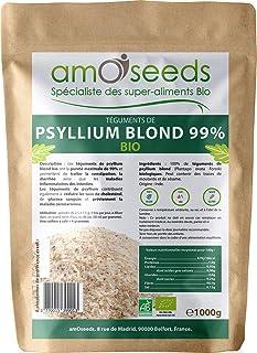 Psyllium Blond Bio - Téguments purs à 99% - Qualité Supérieure - Sachet de 1 kg - amOseeds