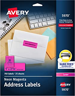 "Avery Neon Address Labels with Sure Feed for Laser Printers, 1 x 2 5/8"", 750 Pink Stickers (5970), Neon Magenta"