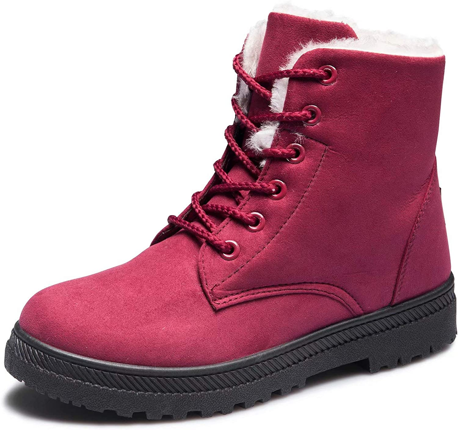 CIOR Fantiny Women's Snow Boots Winter Warm Suede Lace up Snearkers Fashion Flat Platform shoes,NX01,Red,41,2018