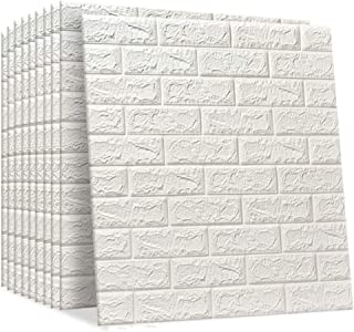 IDEALT 3D Brick Wall Stickers | 77cm x 60cm Self-adhesive Wallpaper Faux Foam Bricks Textured Effect Waterproof PE Foam fo...