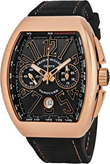 Franck Muller Vanguard Mens Rose Gold Automatic Chronograph Watch - Tonneau Black Face with Luminous Hands, Date and Sapphire Crystal - Swiss Made with Tachymeter Scale V 45 CC DT 5N NR