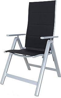 comprar comparacion Chicreat - Juego de 2 sillas plegables regulables con 9 posiciones y respaldo alto (negro y plateado)