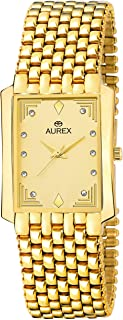 Aurex Analouge Gold Dial 18 K Gold Plated Watch Water Resistant Golden Color Strap Wrist Watches for Mens/Boys (AX-GSQ127-GLG)