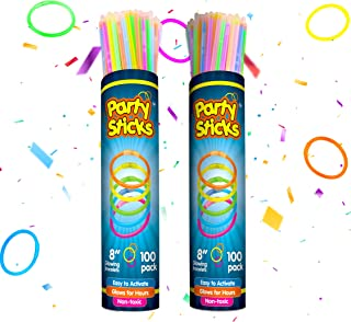 PartySticks Glow Sticks Jewelry Bulk Party Favors 200pk with Connectors - 8 Inch Glow in The Dark Party Supplies, Neon Party Glow Necklaces and Glow Bracelets