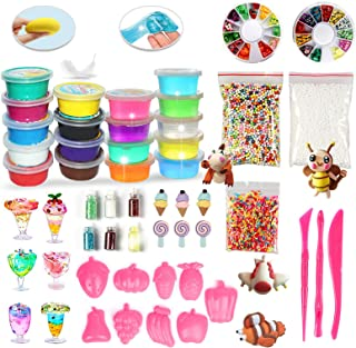 DIY Slime Kit for Girls,Clay&Slime Making Kit Arts Crafts for Girls Boys with Crystal Slime,Air Dry Clay w/ Slime Supplies Gifts for Girls