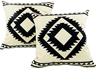 Seeking ROAM Decorative Accent Throw Pillow Covers, 18 x 18 Inch, 2 Covers with Zippers, White and Black Southwest Geometric Print