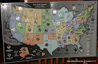 1999 to 2009 Statehood Quarter Map and 56pc. Philadelphia Mintmarked Quarter Collection