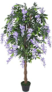 AMERIQUE Gorgeous 5' Nuresery Tech, w Gorgeous & Unique 5 Feet Purple Silk Wistera Tree Artificial Plant with Nursery Plastic Pot, Real Touch Technology, with UV Protection, Super Quality
