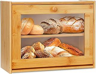 Grande boîte à pain double couche en bambou avec fenêtre transparente pour plan de travail de cuisine