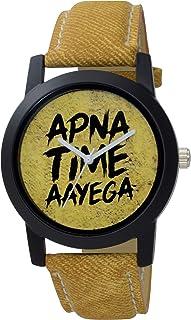 MXIX Apna Time Aayega Yellow Color Belt Leather Strap Analogue Watch for Men's & Boys -Apnatime44