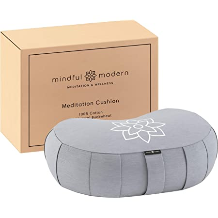 Mindful and Modern Large Crescent Meditation Cushion - Half Moon Yoga Bolster Meditation Pillow for Sitting on Floor - Buckwheat Hull Fill Cushion with Removable Cover and Carry Handle