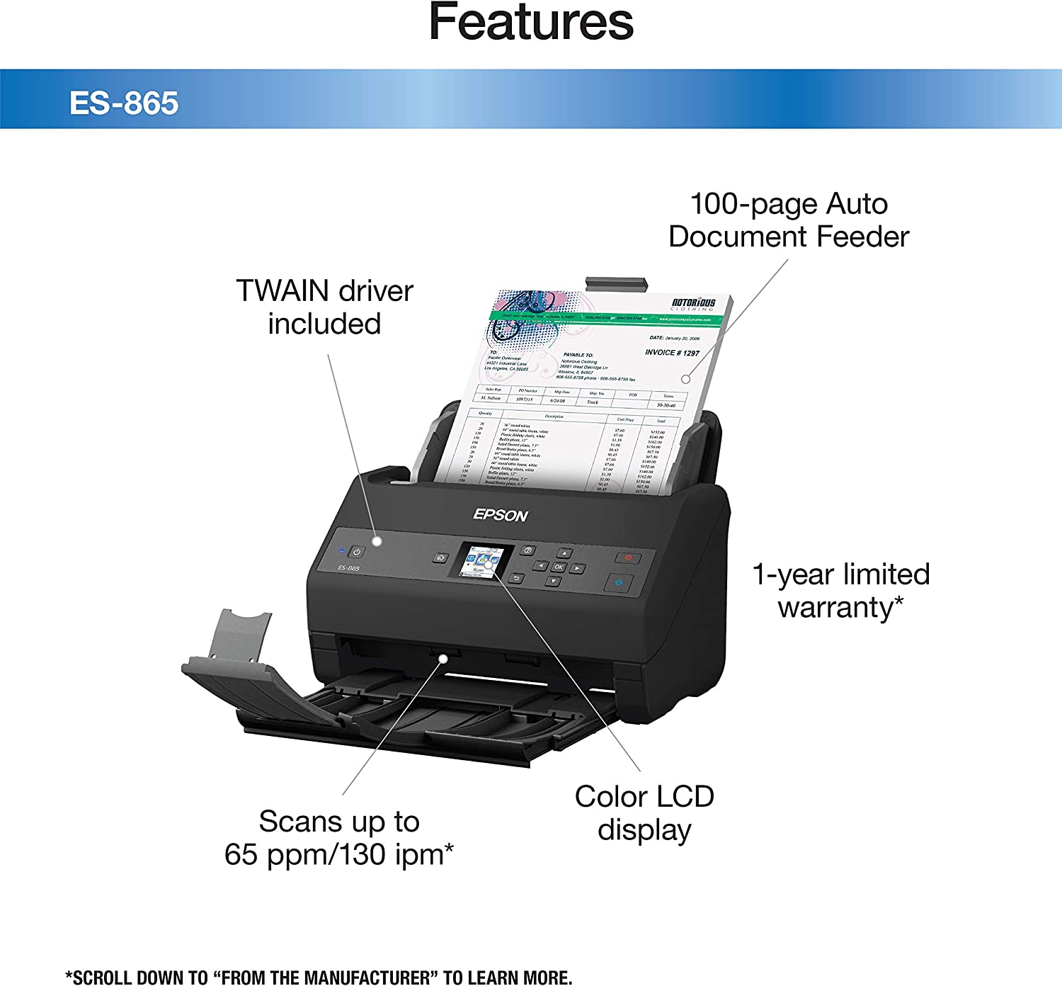 and Intuitive 4.3 Touchscreen ADF Epson Workforce ES-580W Wireless Color Duplex Desktop Document Scanner for PC and Mac with 100-sheet Auto Document Feeder