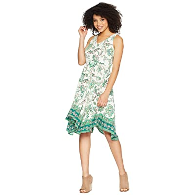 Maggy London Jacobian Border Jersey Fit and Flare with Hanky Hem (Ivory/Green) Women