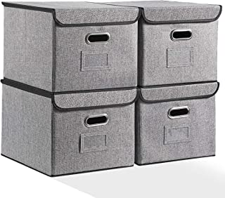 Flie Organizer Box with Lids Set of 4 with Sturdy Handles Linen Fabric File Storage Organizer for Office Letter Grey