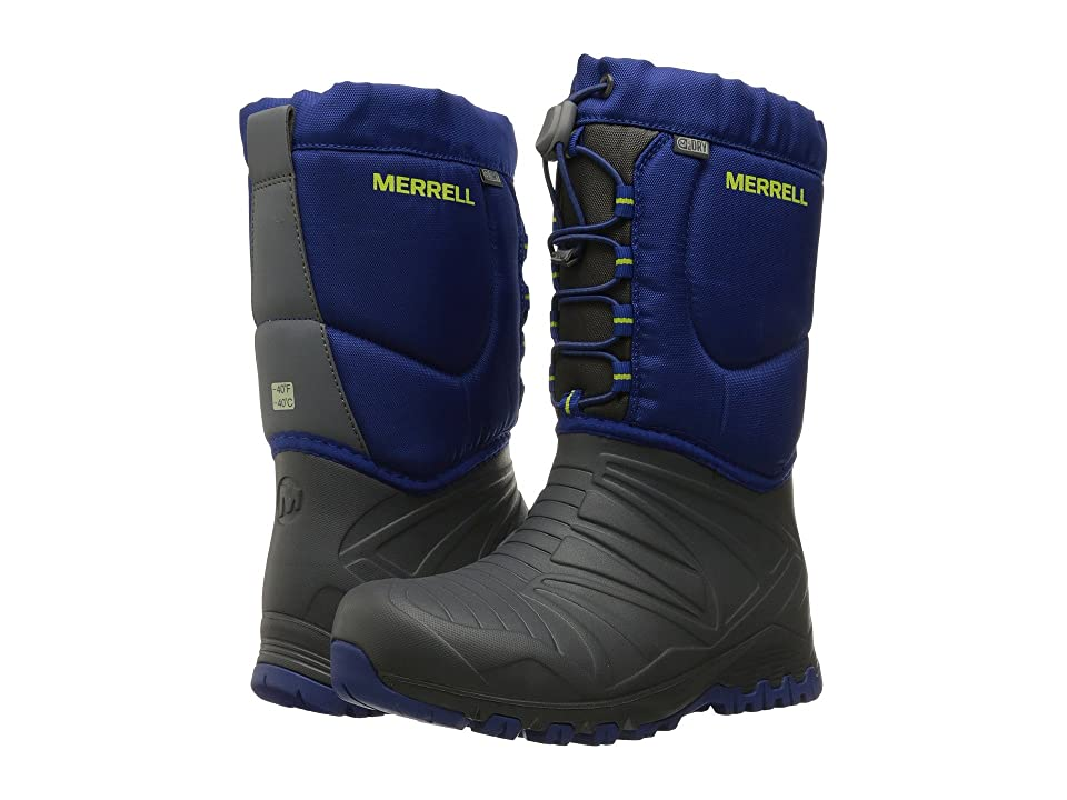 Merrell Kids Snow Quest Lite Waterproof (Little Kid) (Grey/Cobalt WPF Synthetic) Boys Shoes