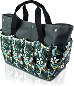 Garden Tool Bag,10 Pockets Gardening Storage Tote Bag, Oxford Hand Tool Storage Tote Organizer with Iron Bracket for Indoor and Outdoor Gardening for Women Men