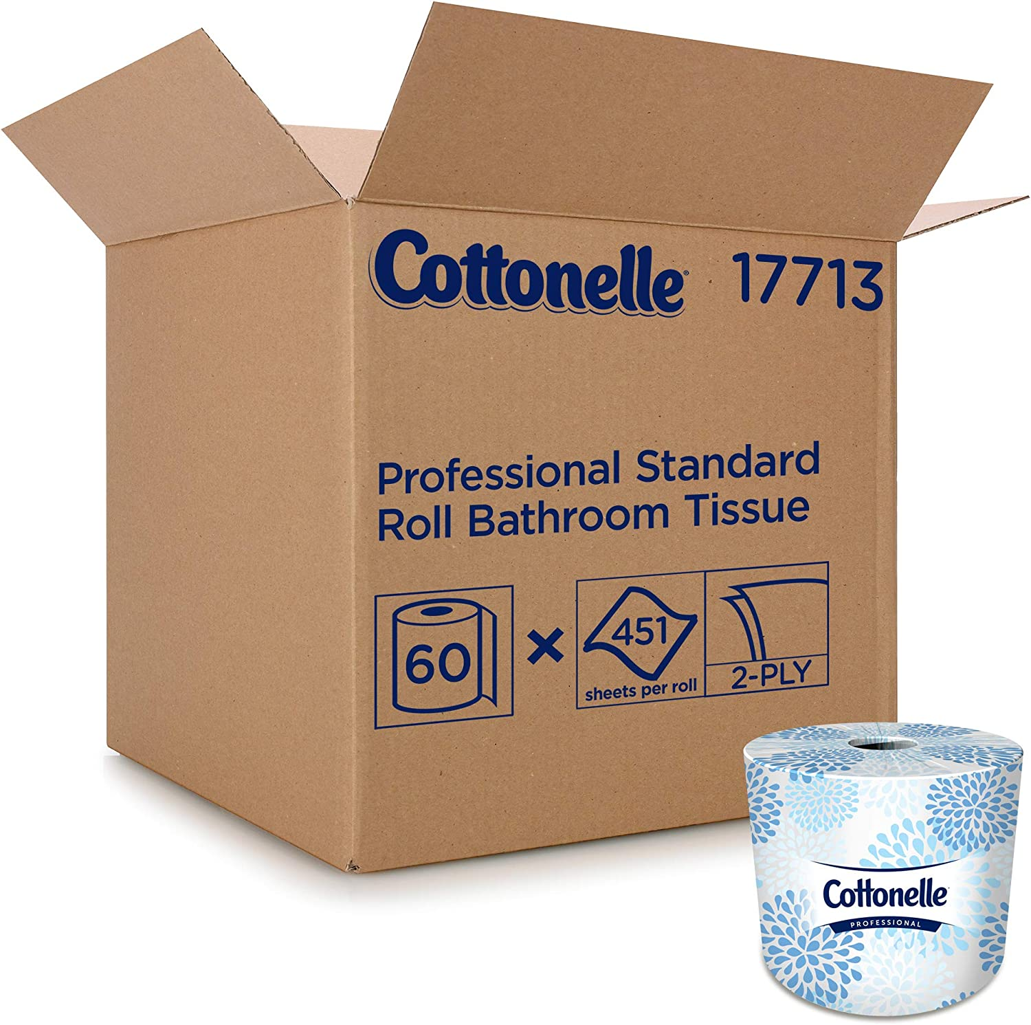 Cottonelle Professional Bulk Toilet Paper for Business (17713), Standard Toilet Paper Rolls, 2-Ply, White, 60 Rolls/Case, 451 Sheets/Roll : Health & Household