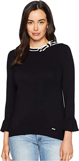 Bow Tie Neck Flared Sleeve Sweater