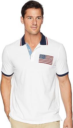 American Flag Pique Polo