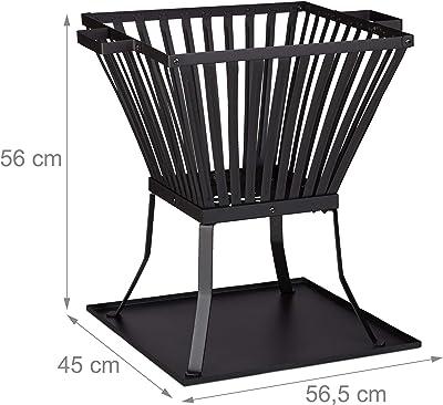 Relaxdays, noir Panier à feu XL avec tisonnier, Brasero de jardin et terrasse avec emplacement bûches, 56x56,5x45 cm