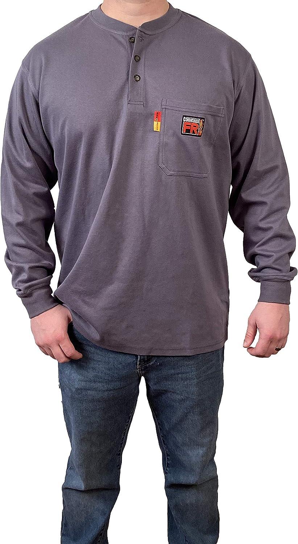 Comeaux FR Henley Welding Work Shirt Gray Long Sleeve T-Shirt Mens (X-Large, Gray)